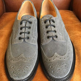 17.14 Rejected Tricker's / Gray Suede / Country Full Brogue Shoes / Dainite W Sole / Size8