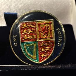 BENSON & CLEGG / CUFFLINKS / UK Pound / Royal Shield / Nickel Brass