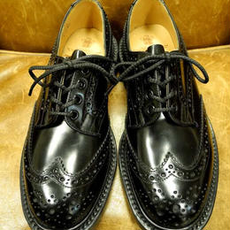 17.13  Rejected Tricker's / Black Polished Calf / Full Brogue Shoes / Leather  W Sole / Size 6