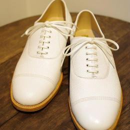 Sanders  / Military Cap Oxford Shoes / White Grain