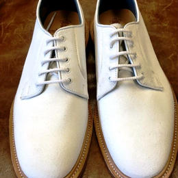 17.32 Rejected Tricker's / White Suede / Plain Toe Country Shoes / Leather Sole / Size8