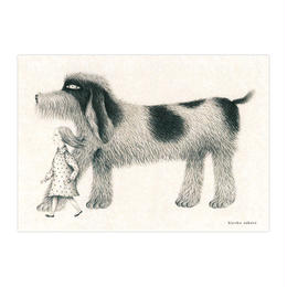 さかたきよこ「女の子と犬」カード