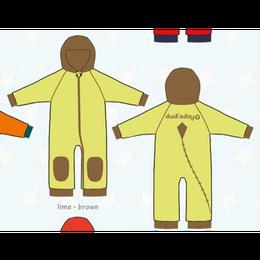 ducksday Fleece suits Lime/brown ( 98-104cm~104-116cm )