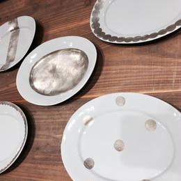 中囿義光 楕円平皿、シルバー