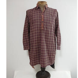 ~1930's  French check  work shirt patched