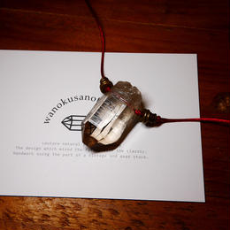 ガウリシャンカール産ヒマラヤ水晶(クリア・スモーキー)真鍮パーツネックレス
