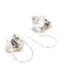 ダブルポイント水晶のピアス シルバー