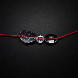 3連クリスタル ネックレス 組み紐(赤)