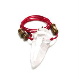【M様ご予約分】ガネーシュヒマール産ヒマラヤ水晶 真鍮パーツネックレス(クリア、クローライト)C