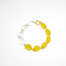 黄色い天然石とクリスタルのブレスレット