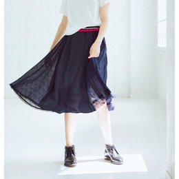 Check pattern・skirt(navy)