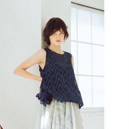 Cutwork・sleeveless blouse(navy)