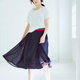 Check pattern・skirt(navy)