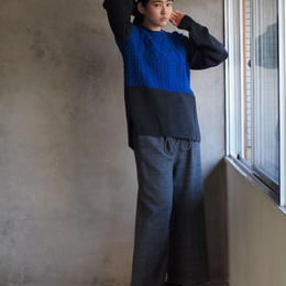 Knit P/O(blue×charcoalgray)
