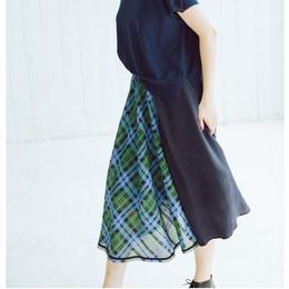 Check pattern・skirt(green)