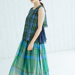 【Standard】Pleated long skirt(green)