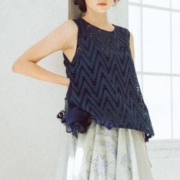 Cutwork・sleeveless blouse(navy)
