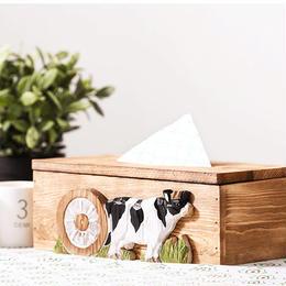 ティッシュケース/乳牛の世界 木製 withBambi