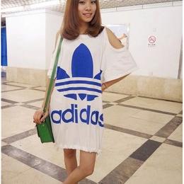送料無料 半袖 アディダス adidas ロング Tシャツ レディース ワンピース スカートリラックス[25]