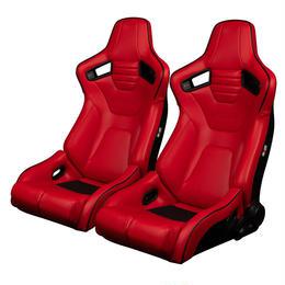 2脚【Braum Racing  セミバケットシート Elite-R レッドレザー&ブラックパイピング】