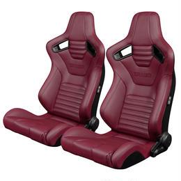2脚【Braum Racing  セミバケットシート Elite-X ワインレッド】