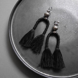 horse tail pierce/earrings BLACK