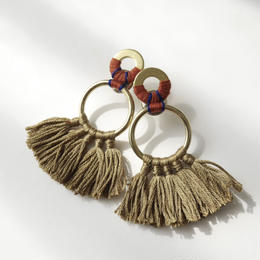fringe pierce/earring  OLIVE