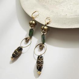 amulet long pierce/earrings BLACK