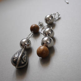 metal wood pierce/earring SILVER