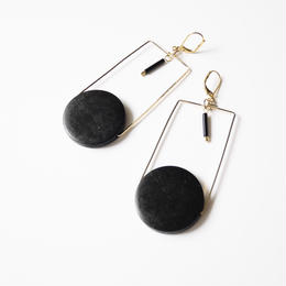 circle square pierce/earrings BLACK