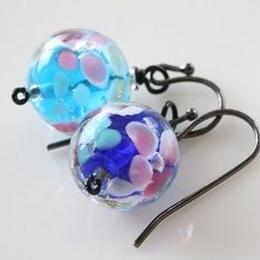 インドガラスピアス028 青花