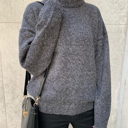 bottleneck knit pullover