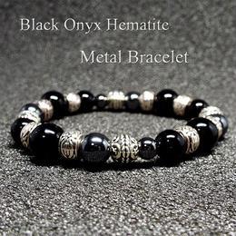 天然石 オニキス ヘマタイト メタルブレスレット