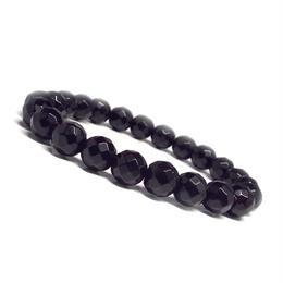 天然石 オニキス 64面カット 黒瑪瑙 ブレスレット
