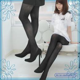 国産『MONALIZA』タイツ ヘリンボン柄 色:黒 サイズ:M-L