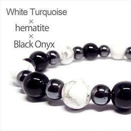 天然石 ホワイトターコイズ オニキス ヘマタイト メンズブレスレット