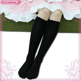 婦人 綿混平編みハイソックス 色:黒 サイズ:23~25cm