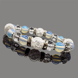 天然石 クラック水晶 オパール デザインブレスレット