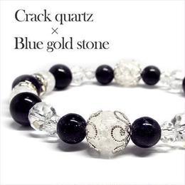 天然石 クラック水晶 ブルーゴールドストーン パワーストーンブレスレット