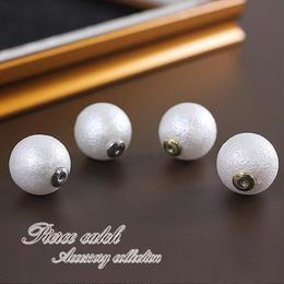 【コットンパール風】14mm真珠のピアスキャッチ♪ホワイト×ゴールド・シルバー