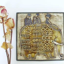 GUSTAVSBERG/Lisa Larson/UNIK Elefant グスタフスベリ・リサラーソン・UNIK 象 壁掛け陶板 商品№166