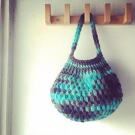 玉編みのバスケット風バッグ-編み図データのみ
