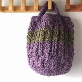 ガラ紡糸のアラン模様ミニバッグ パープル×カーキ