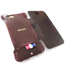 1点限定【コードバン製/abicaseflap】手帳型iPhone7ジャケット  2トーンバーガンディ