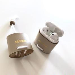 abiPods/AirPods用レザーケース/ミルクミルクティー
