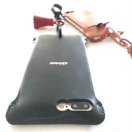 iPhone7 Plus sj  シンプルジャケット黒/赤タッセル付