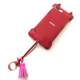 アウトレット【abicasePro】iPhone7Plus  カーマインレッドコードバン猫ジャケット