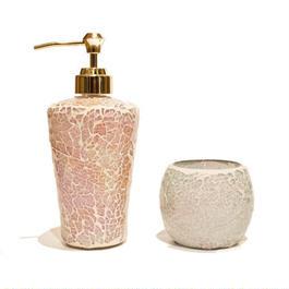 モザイクガラス ディスペンサー&キャンドルホルダーセット 《Pink》