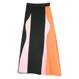Color Blockロングスカート