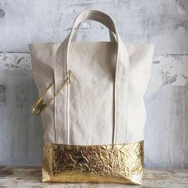 bicolor tote bag (gold)